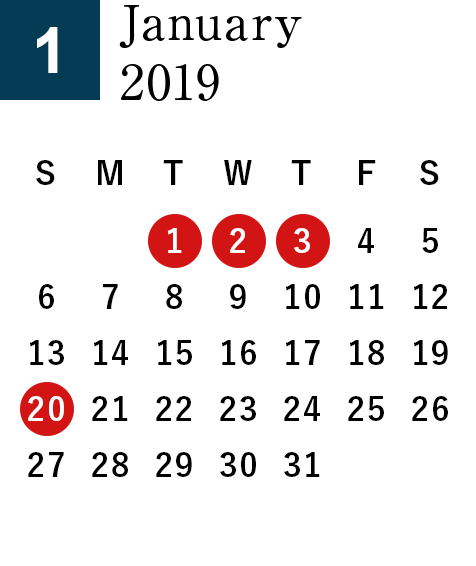 January 2019 Business day calendar