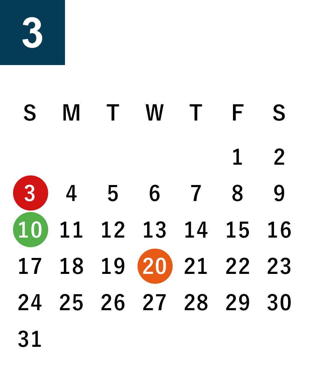 March 2019 Business day calendar