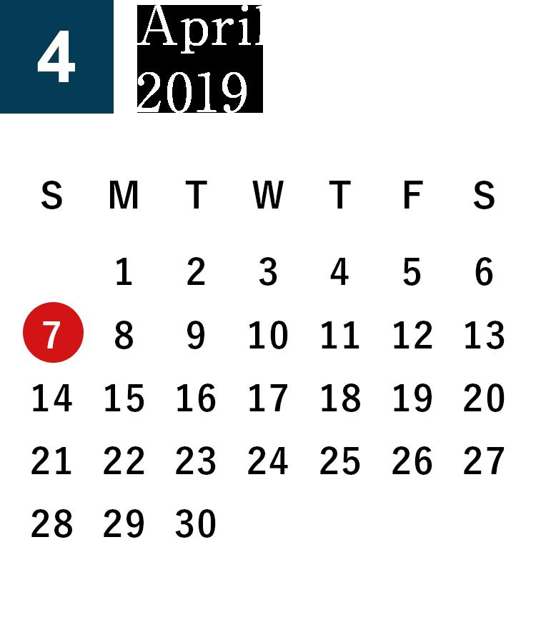 April 2019 Business day calendar