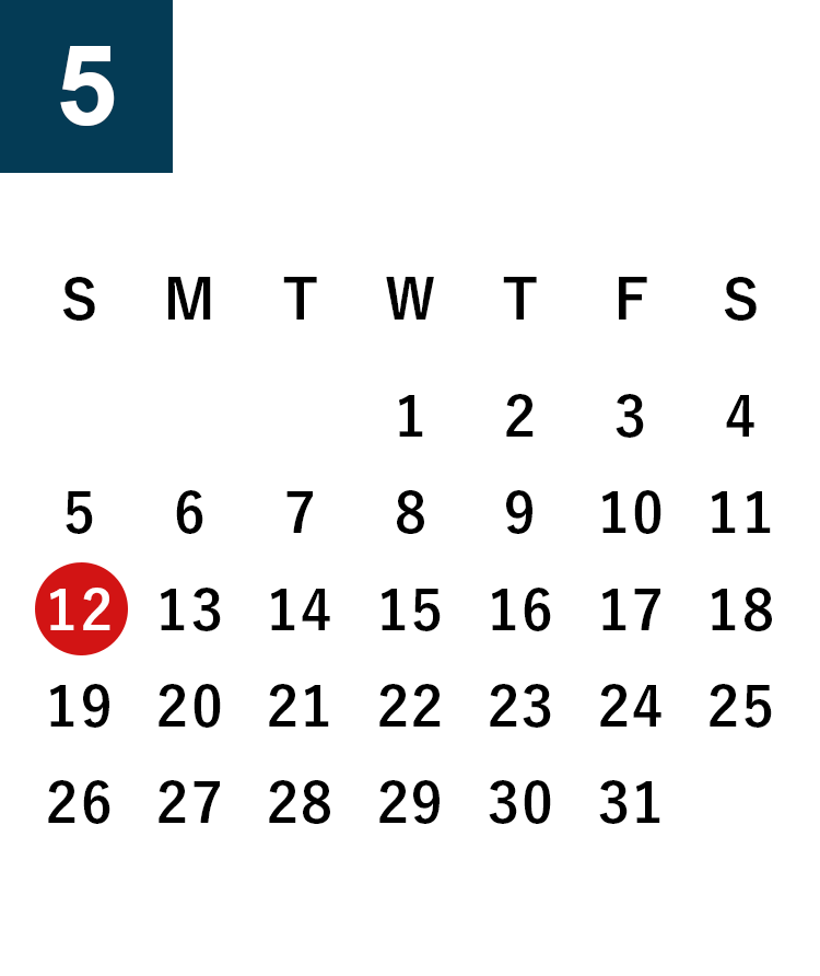 May 2019 Business day calendar