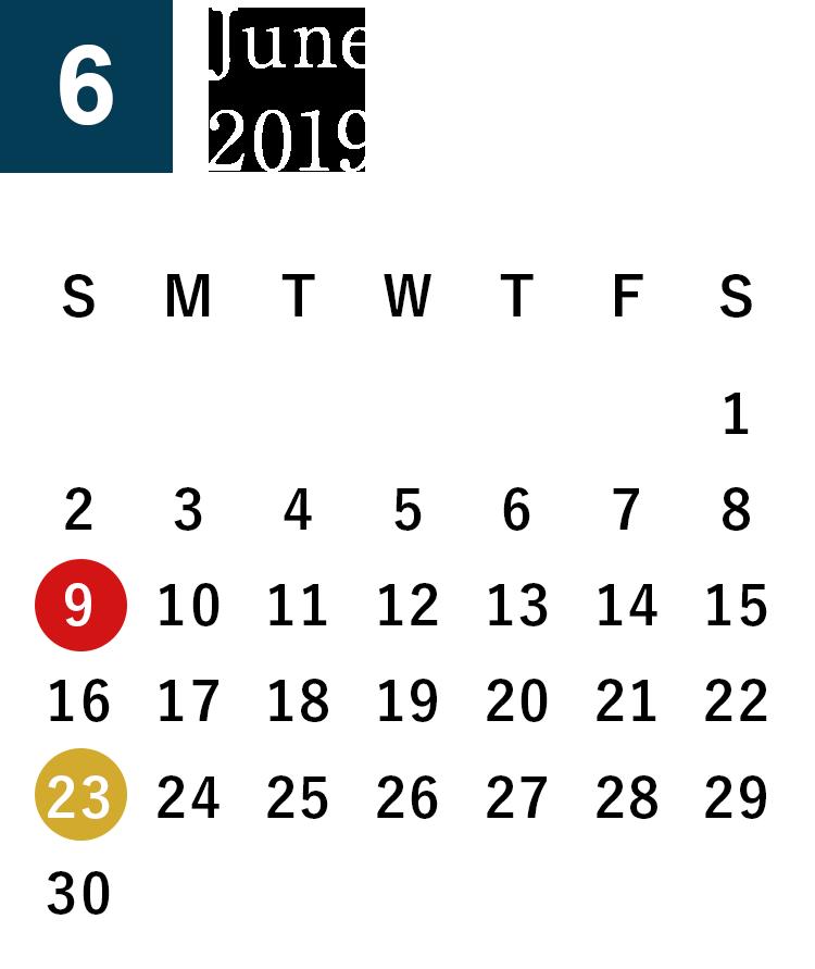 June 2019 Business day calendar