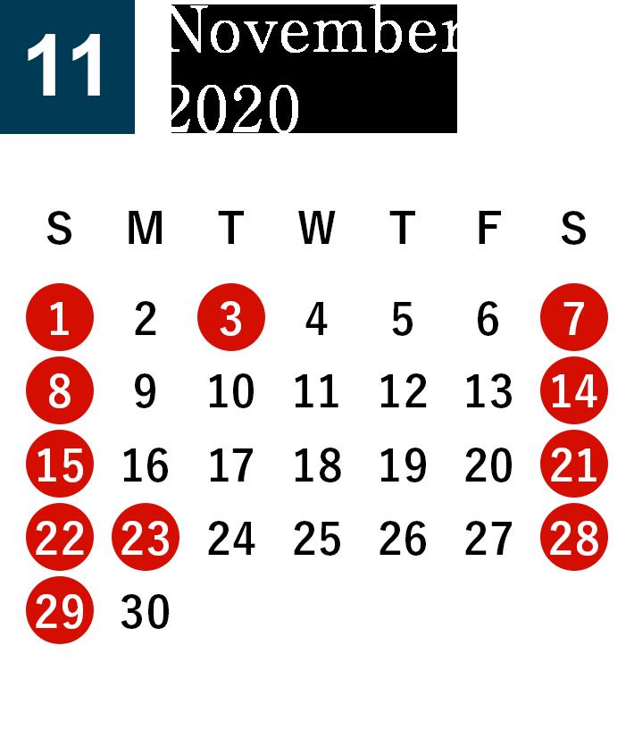 November 2020 Business day calendar