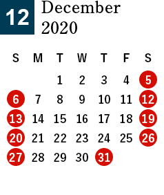 December 2020 Business day calendar