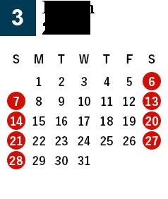 March 2021 Business day calendar