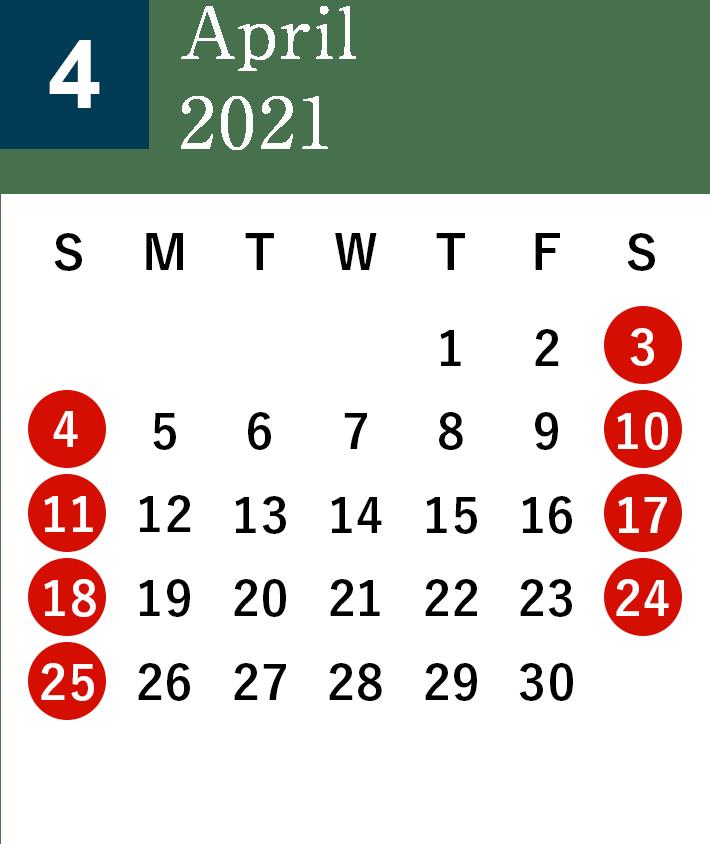 秋田酒蔵見学2021年4月営業日カレンダー