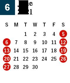 秋田酒蔵見学2021年6月営業日カレンダー